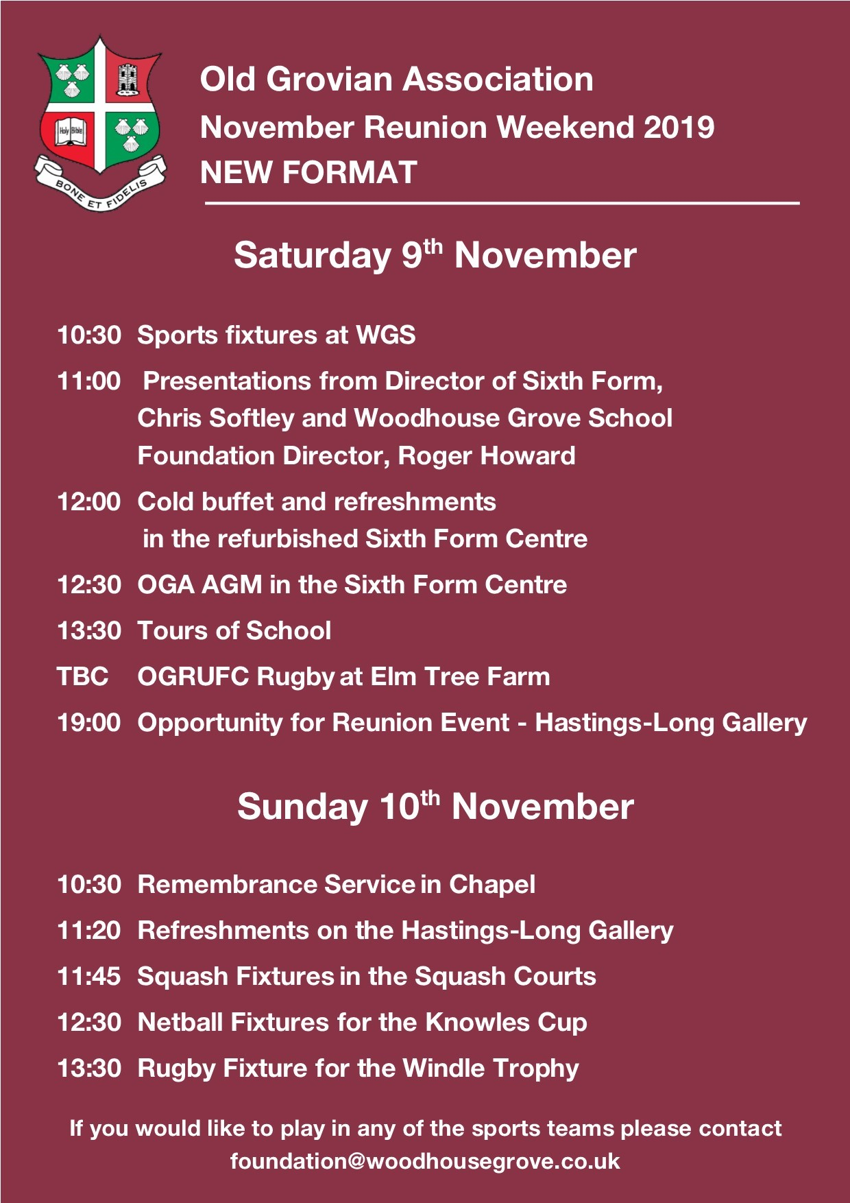 OGA Reunion November 2019 flyer